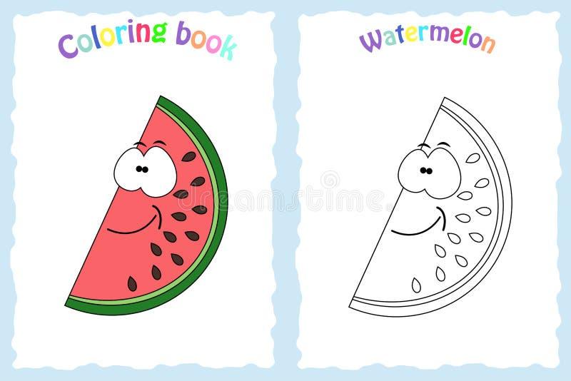 Kleurende boekpagina voor kinderen met kleurrijke watermeloen en s vector illustratie