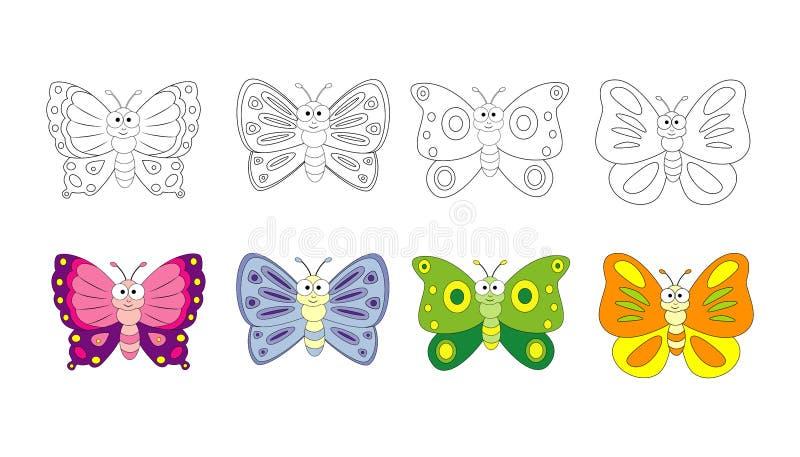 Kleurende boekpagina voor peuterkinderen met kleurrijke butterfl royalty-vrije illustratie