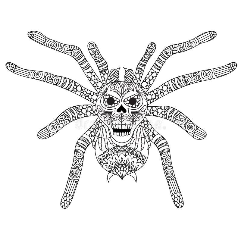 Kleurende Boekpagina voor volwassene en jong geitje Het kleuringsbeeld van zentangle stileerde griezelig schedelgezicht op spider royalty-vrije illustratie