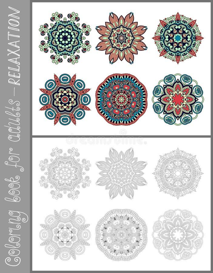 Kleurende boekpagina voor volwassenen - bloem Paisley stock illustratie