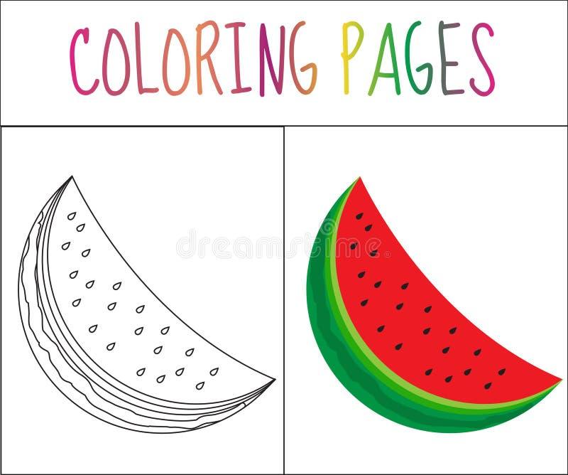 Kleurende boekpagina watermeloen Schets en kleurenversie het kleuren voor jonge geitjes Vector illustratie stock illustratie