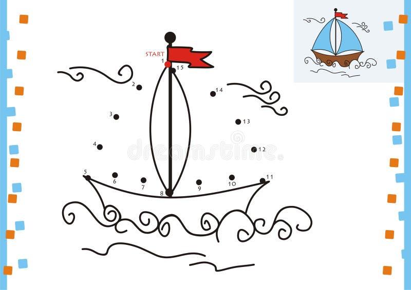 Kleurende boekpunt aan punt. De boot stock illustratie