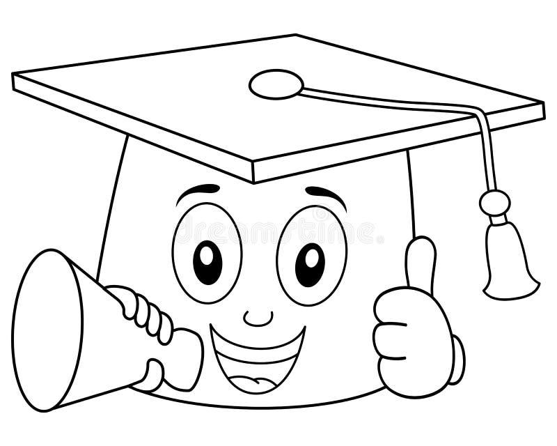 Kleurende Graduatiehoed met Megafoon vector illustratie