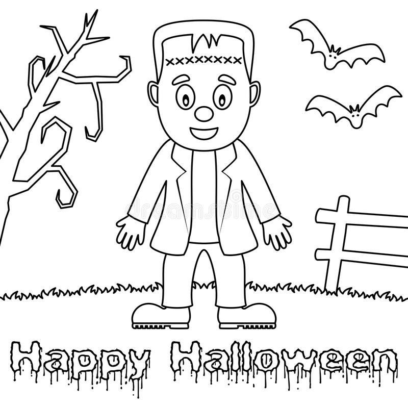 Kleurende Halloween-Monsters - Frankenstein vector illustratie