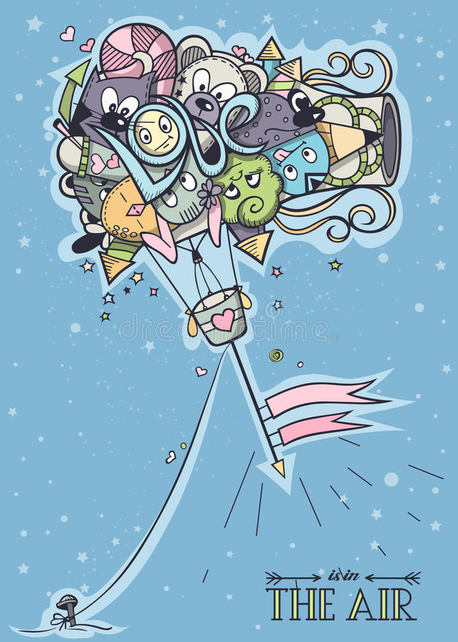 Kleurende krabbelballon royalty-vrije illustratie