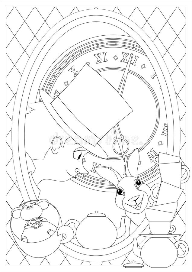 Kleurende pagina Alice in sprookjesland Gek Theekransje vector illustratie