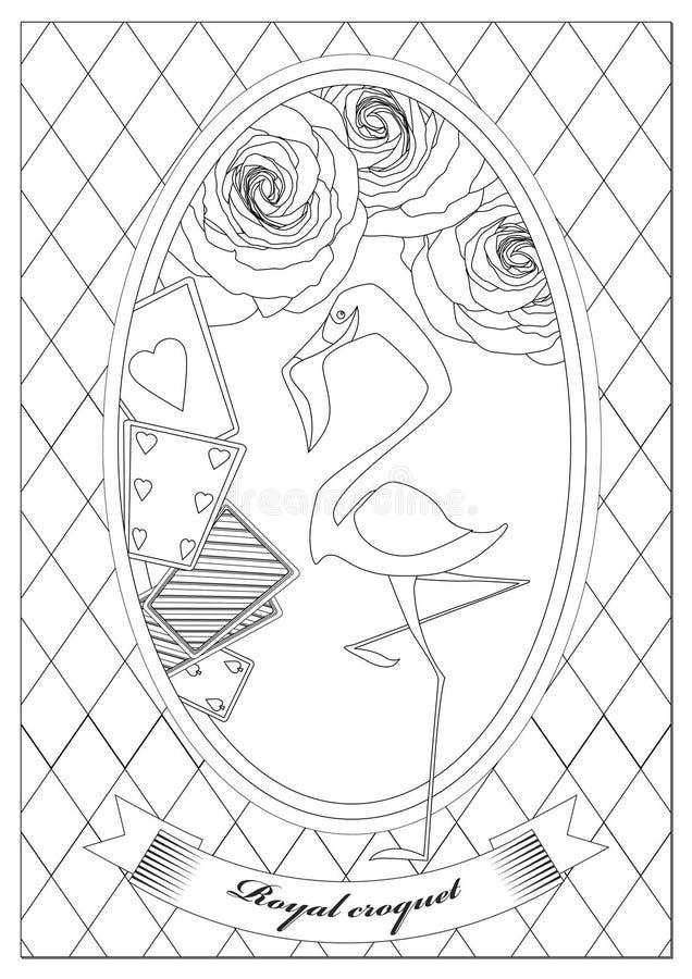 Kleurende pagina Alice in sprookjesland Koninklijk croquet vector illustratie