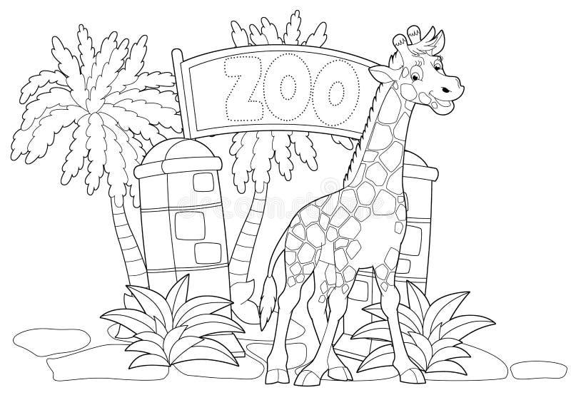 Kleurende pagina - de dierentuin - illustratie voor de kinderen vector illustratie