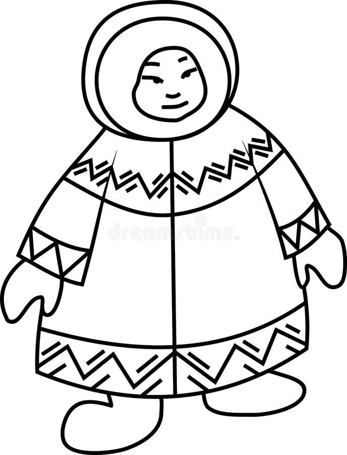 Kleurende pagina Eskimo in nationale kleren royalty-vrije illustratie