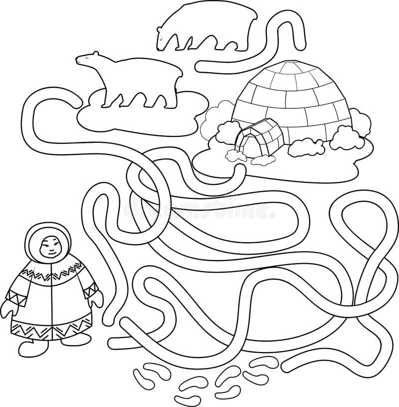 Kleurende pagina Help de Eskimo de manier aan iglo vinden royalty-vrije illustratie