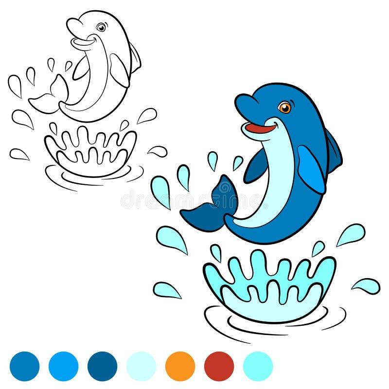 Kleurende pagina Kleur me: dolfijn Weinig leuke dolfijn springt uit vector illustratie