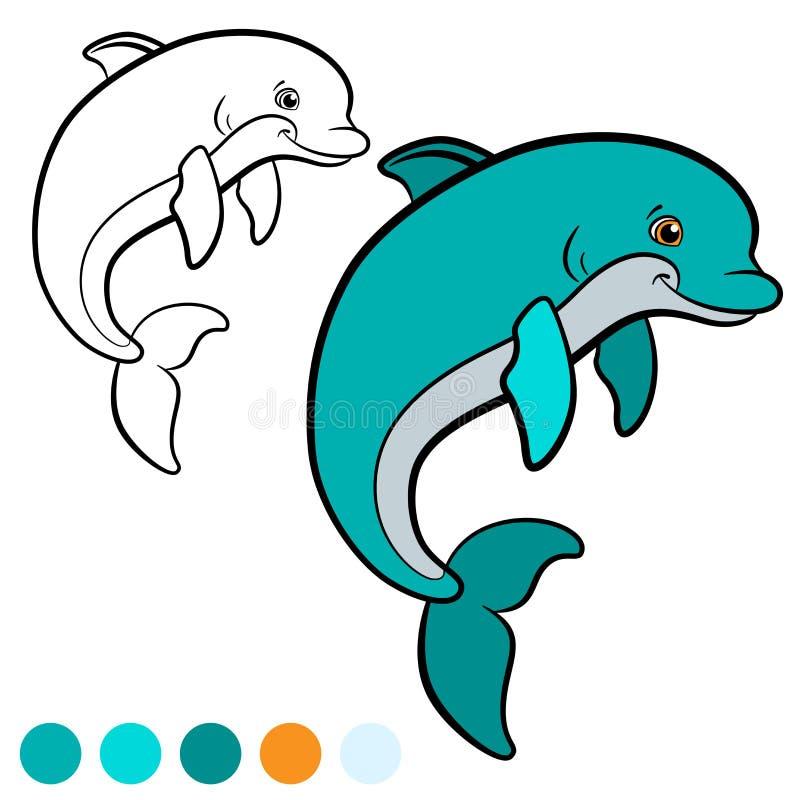 Kleurende pagina Kleur me: dolfijn Weinig leuke dolfijnsprongen en vector illustratie