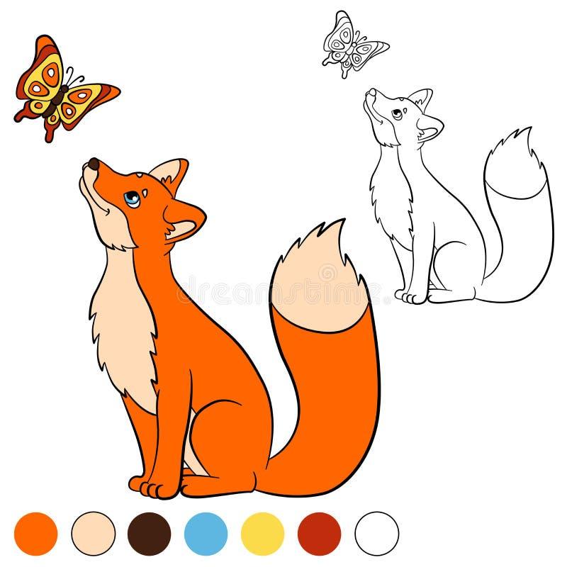 Kleurende pagina Kleur me: vos De leuke mooie vos bekijkt de vlinder stock illustratie