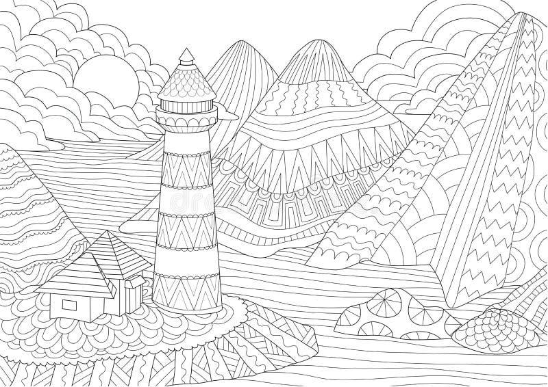 Kleurende pagina Kleurend boek voor volwassenen Kleuringsbeelden van licht huis onder bergen, zon en rotsen Antistresssket uit de stock illustratie