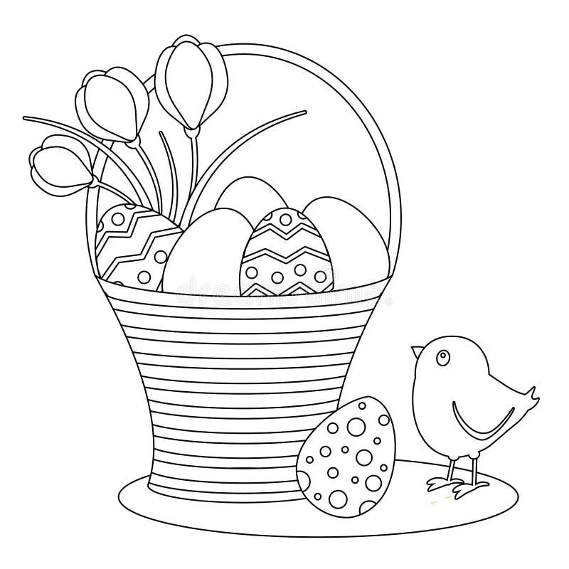 Kleurende pagina met beeldverhaalpaaseieren en kuiken vector illustratie