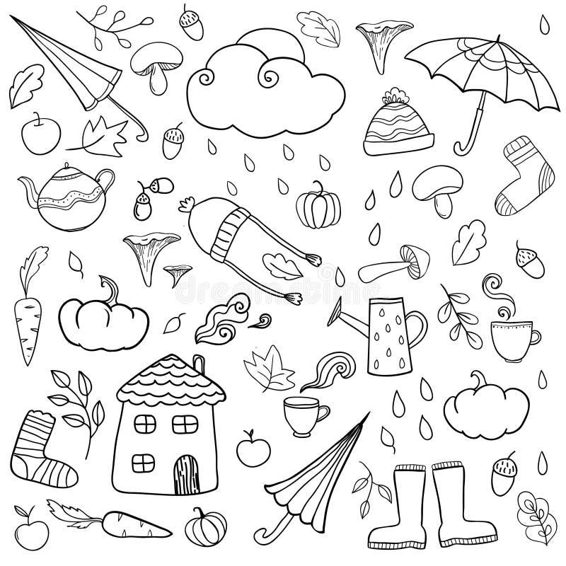Kleurende pagina met de herfstpictogrammen royalty-vrije illustratie