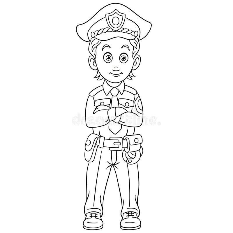 Kleurende pagina met de mensenambtenaar van de politieagentpolitie vector illustratie