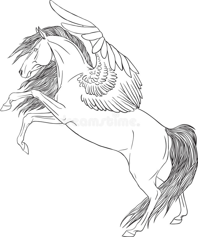 Kleurende pagina met een Pegasus stock foto
