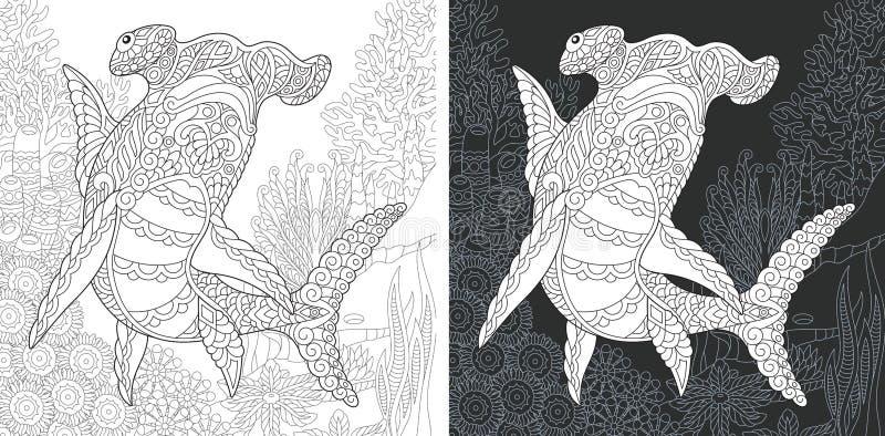 Kleurende pagina met hamer hoofdhaai vector illustratie