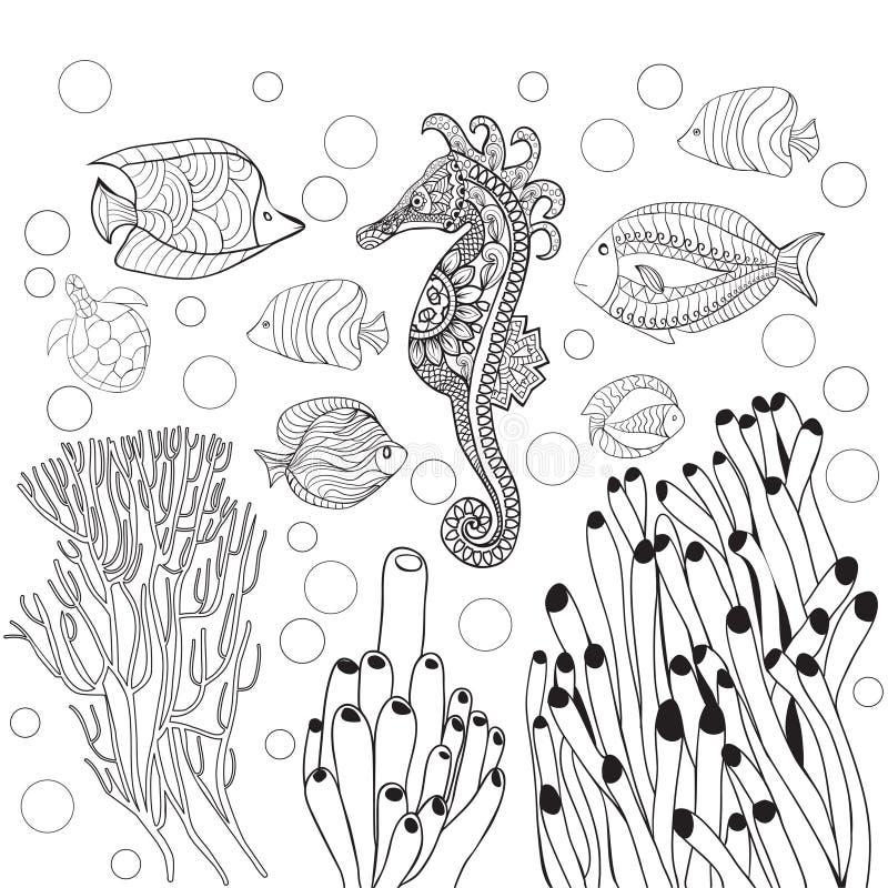 Kleurende pagina met het onderwaterwereld overzeese leven, vissen, zeepaardje royalty-vrije illustratie