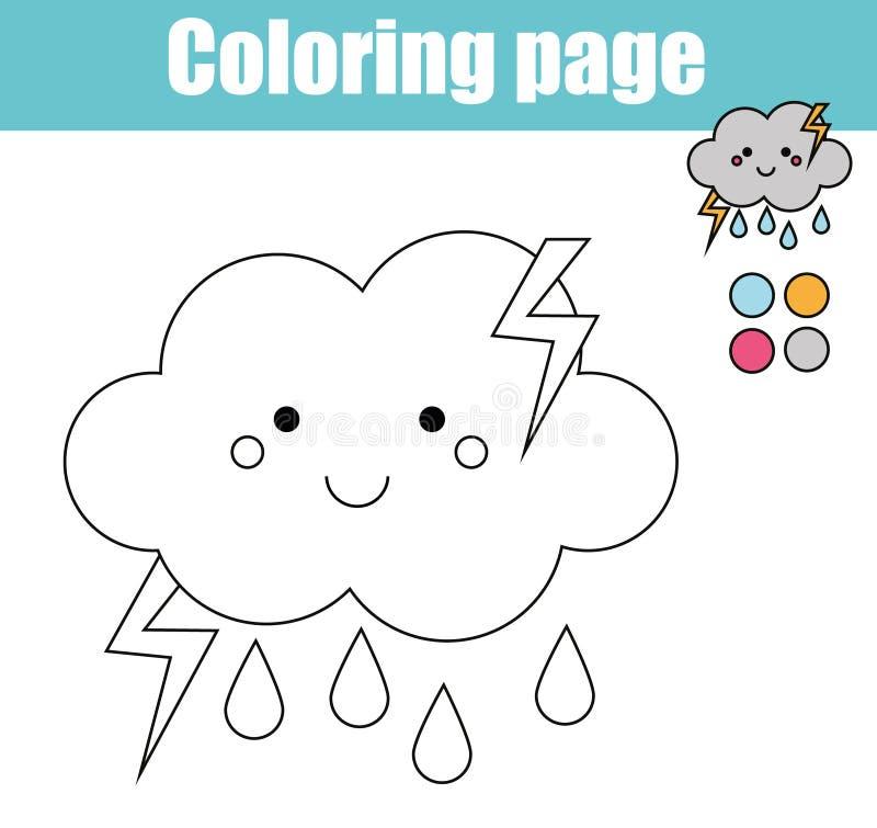 Kleurende pagina met leuk wolkenkarakter Onderwijsspel, de voor het drukken geschikte activiteit van tekeningsjonge geitjes stock illustratie