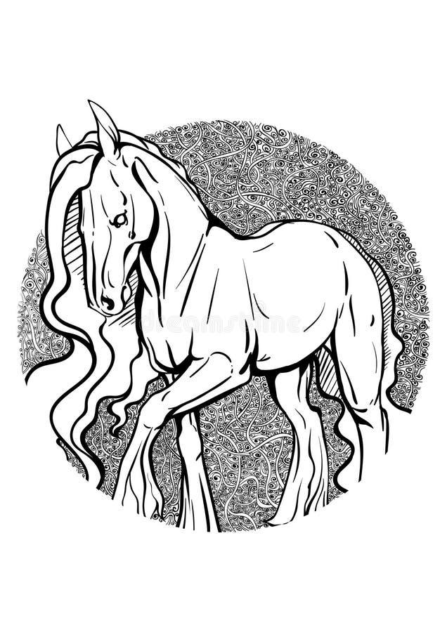 Kleurende pagina met paard vector illustratie