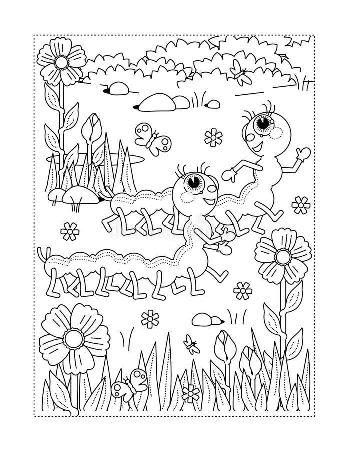 Kleurende pagina met rupsbanden, bloemen, gras vector illustratie