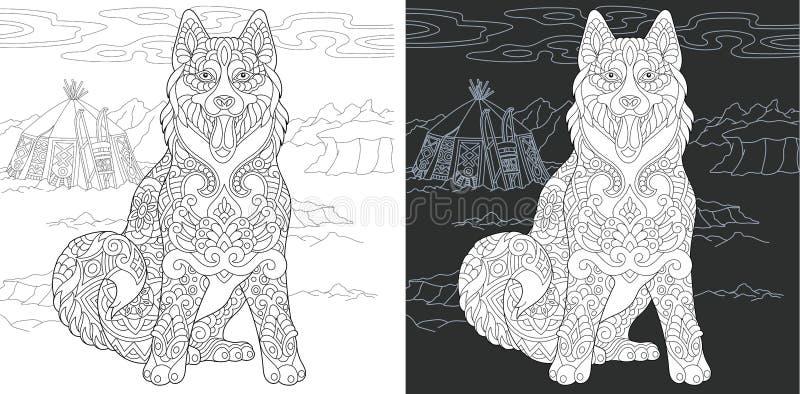 Kleurende pagina met schor hond vector illustratie