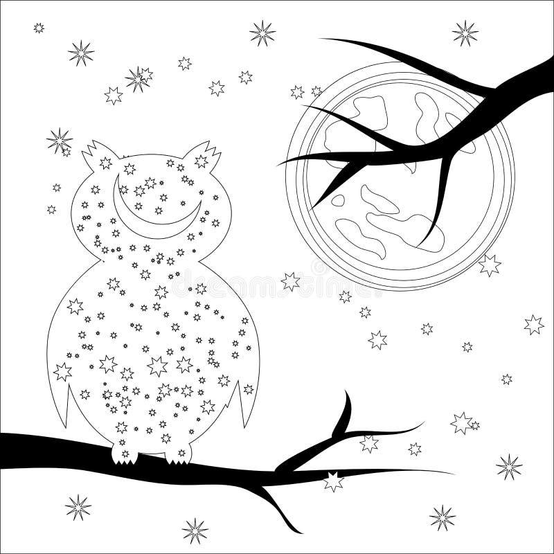 Kleurende pagina met symboolmaan, zon, uil kleurend boek voor volwassen, antistress, album, muurmuurschildering, kunst, tatoegeri stock illustratie