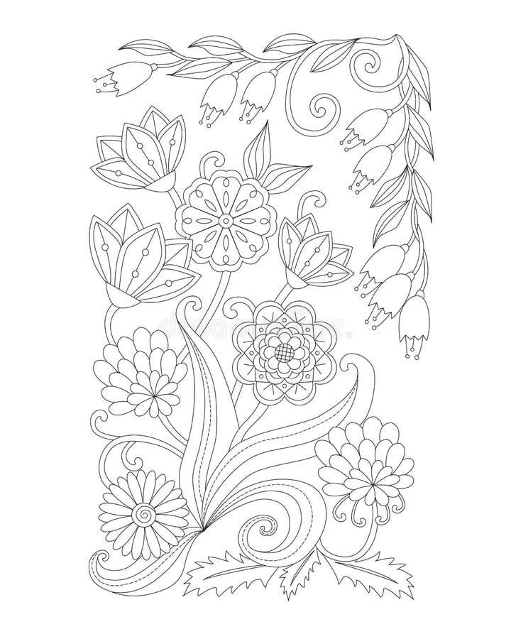 Kleurende pagina met uitstekende bloemen Rebecca 36 Handrawnornament vector illustratie