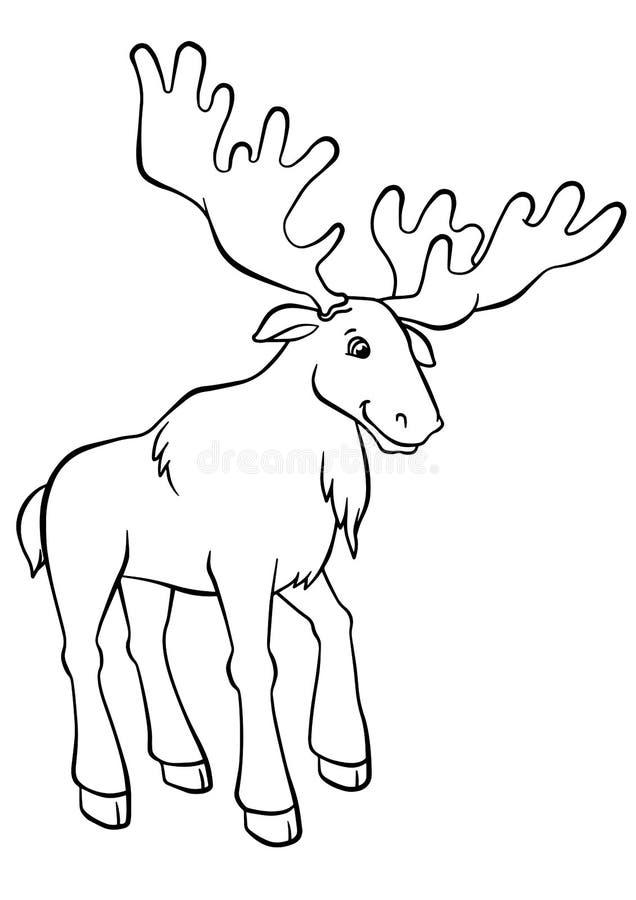 Kleurende pagina's dieren Leuke elanden vector illustratie