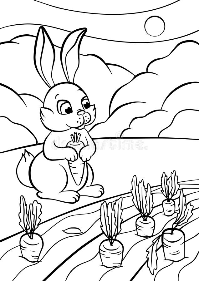 Kleurende pagina's dieren Weinig leuk konijn stock illustratie