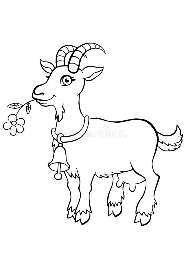 Kleurende pagina's dieren Weinig leuke geit royalty-vrije illustratie