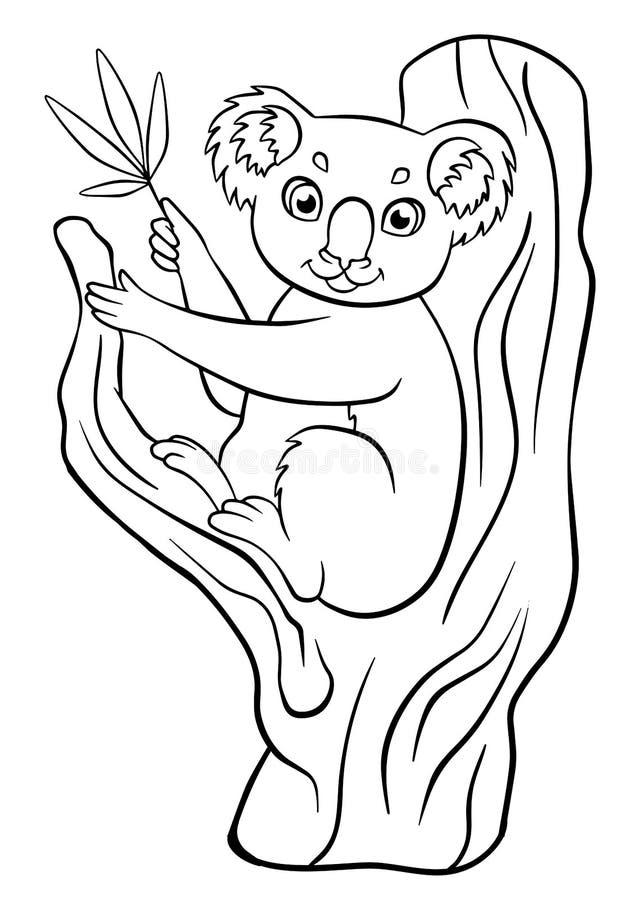 Kleurende pagina's dieren Weinig leuke koala royalty-vrije illustratie