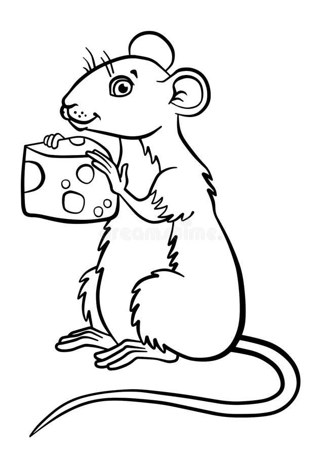 Kleurende pagina's dieren Weinig leuke muis stock illustratie