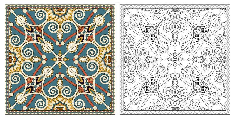 Kleurende pagina's, kleurend boek voor volwassenen, authentiek tapijt desig royalty-vrije illustratie