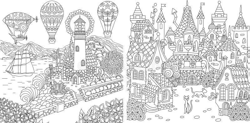 Kleurende pagina's Kleurend boek voor volwassenen Kleuringsbeelden met licht huis en sprookjekasteel Antistressschets uit de vrij royalty-vrije illustratie