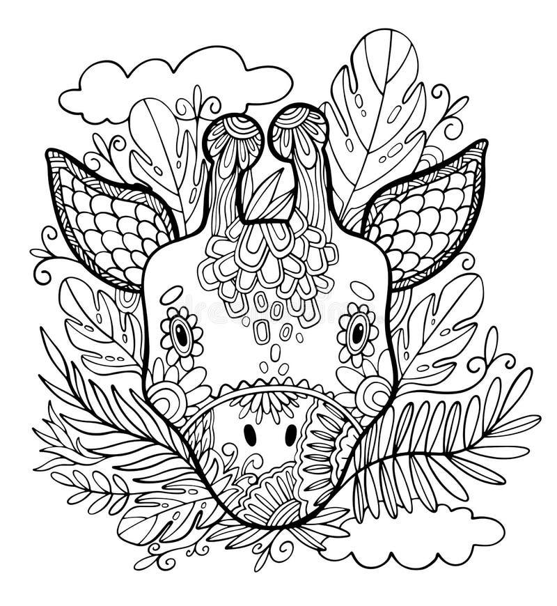 Kleurende pagina's Kleurend boek voor volwassenen Mooi malplaatje met kunstwerk Dierlijke giraf en tropische planten Schoolonderw royalty-vrije illustratie
