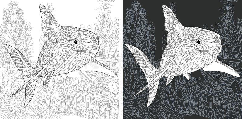 Kleurende pagina's met Haai stock illustratie