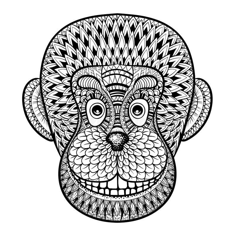 Kleurende pagina's met hoofd van Aap, Gorilla, zentangle illustrat royalty-vrije illustratie