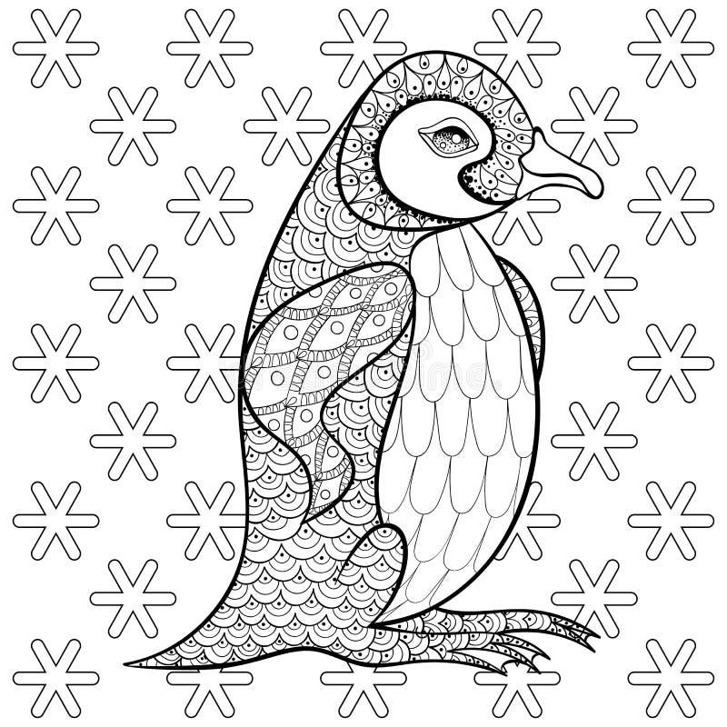 Kleurende pagina's met Koning Penguin onder sneeuwvlokken, zentangle ziek royalty-vrije illustratie
