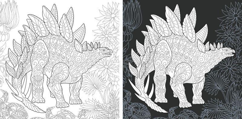 Kleurende pagina's met Stegosaurus royalty-vrije illustratie