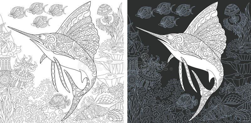 Kleurende pagina's met Zeilvis vector illustratie