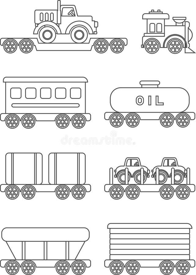 Kleurende pagina's Reeks verschillend speelgoed van silhouettenkinderen royalty-vrije illustratie