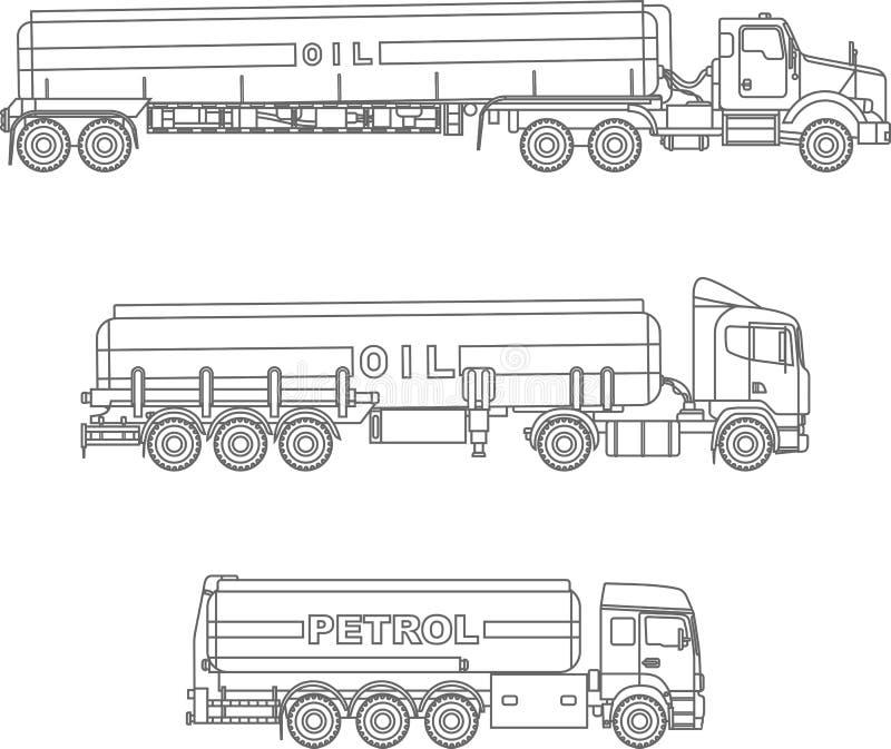 Kleurende pagina's Reeks verschillende vlakke lineaire pictogrammen van benzinevrachtwagens op witte achtergrond Vector illustrat vector illustratie