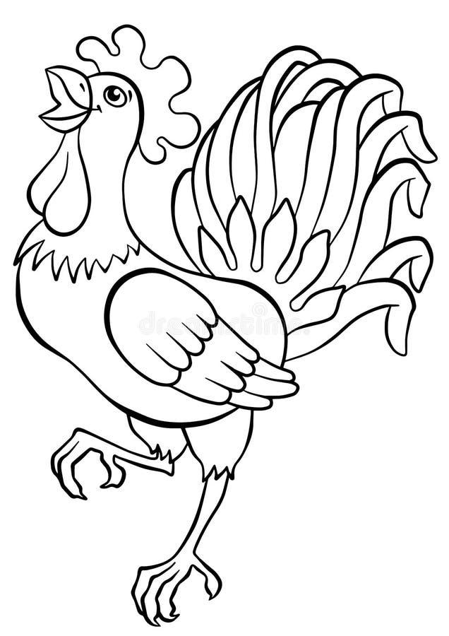 Kleurende pagina's vogels Leuke haan stock illustratie