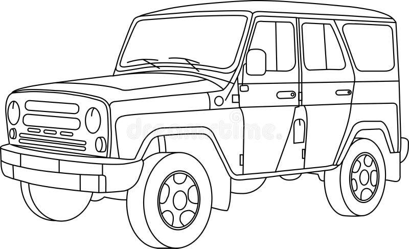 Kleurende pagina's voor jonge geitjesauto's vector illustratie