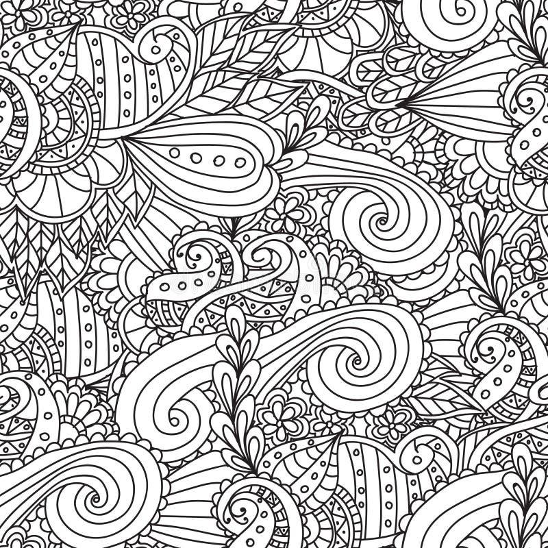 Kleurende pagina's voor volwassenen Decoratief hand getrokken sier de krul vector schetsmatig naadloos patroon van de krabbelaard stock illustratie