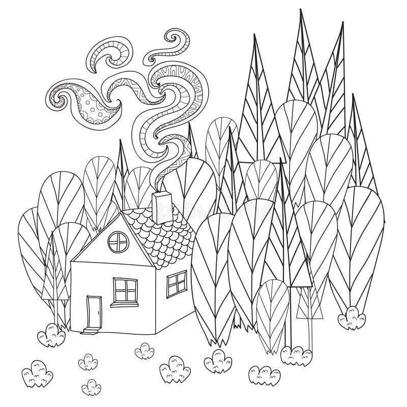 Kleurende pagina's voor volwassenen en kinderenboek Beeldverhaalhuis in het bos vector illustratie