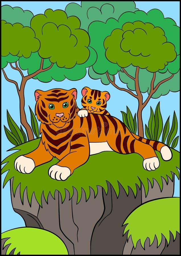 Kleurende pagina's Wilde dieren Glimlachend moedertijger met haar weinig leuke baby vector illustratie